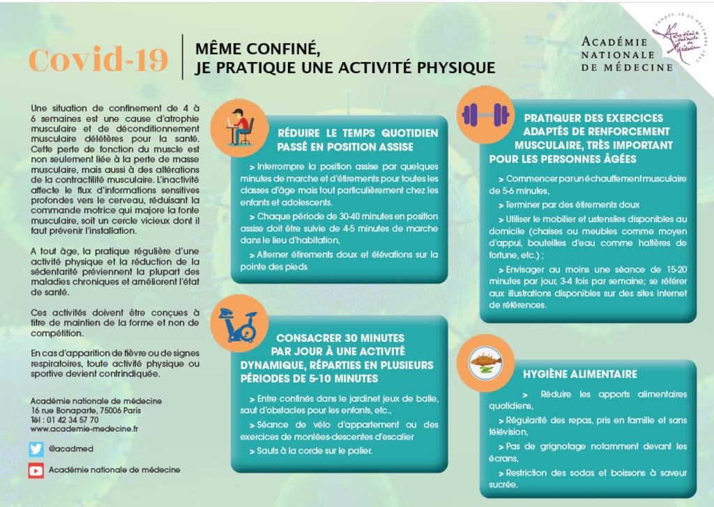 Covid 19 Même confiné je pratique une activité physique